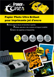 PAPIER PHOTO ultra brillant FRANCETONER PAFTA3_BRI230_50F
